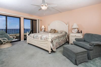 Master Bedroom is GULF FRONT - King sized bed in this beautiful beach front master bedroom..Waking up to the sounds of waves crashing from your private balcony entrance, A perfect start to any day!