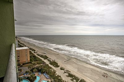 Enjoy a bird's eye view from the top floor overlooking the pools and beach.