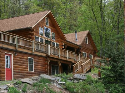 Photo for Luxurious Log Cabin in Woods on Keuka Lake w Prvt Dock & Lake Front