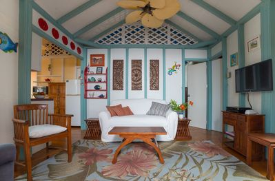 The cottage's cozy living room.