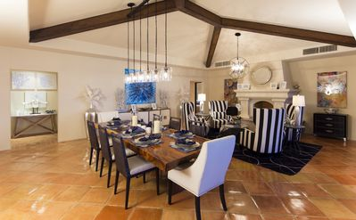 Dining Room with Seating for 8 and adjacent fireplace and intimate seating...