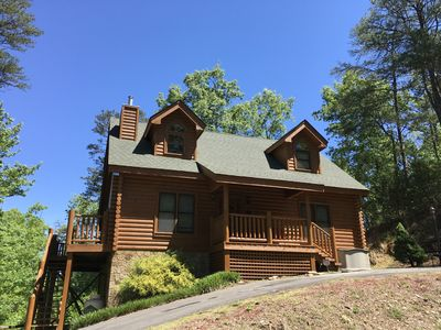 Photo for Amazing Luxury Log Cabin! Great Living Space! Mountain Views! 2 Jacuzzi Tubs!