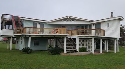 Oz by the Sea, facing the ocean!  Large deck, sun deck upper left w/Lanai below.