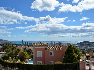 Photo for Spacious modern villa - fabulous sea views, free WIFI, beach & golf