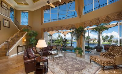 Open and Luxurious Great Room w Pool & Water View