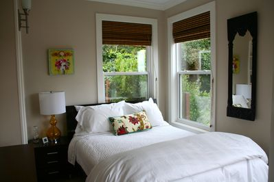 Guest room with bay views. Sausalito is a quiet neighborhood.  Double bed.