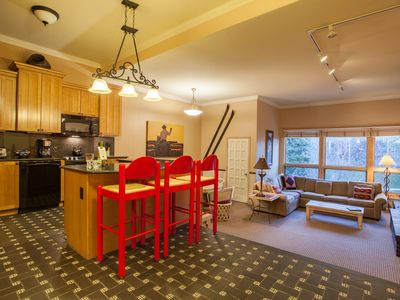 Photo for Tranquil Condo Steps from Slopes w Beautiful Deck Views, Fire Pit & Hot Tubs