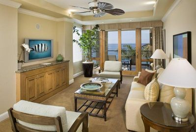 Dolphin Bay Resort and Spa 1 Bedroom Oceanfront Living Area