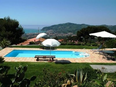 Photo for Apartment in luxury villa with pool in Diano Marina with view of the entire gulf