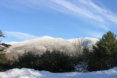 Front porch view of Mt. Kinsman in Winter