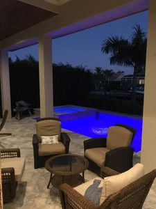 Relax at night by the pool