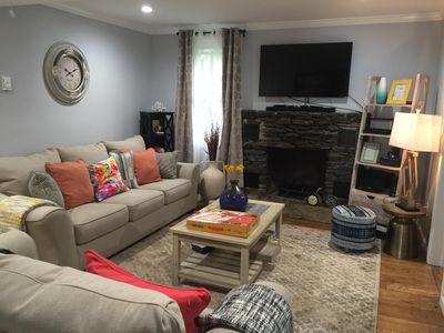 Family room with fireplace and TV/Internet
