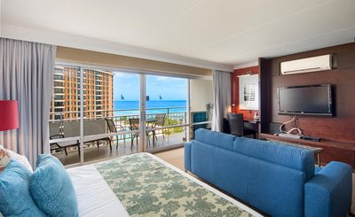 Photo for Fireworks view from lanai! Huge studio unit with ocean view #1624