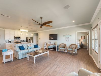 Kitchen, dining & living-room are a large open concept-flat screen w/Direct TV