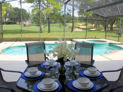 Covered patio with huge pool and spa. Fantastic view of golf course.