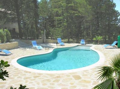 Private heated swimming pool.