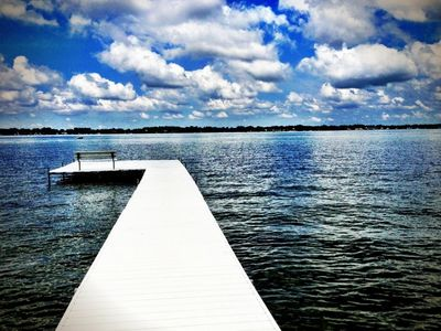 View of lake from home with the dock.