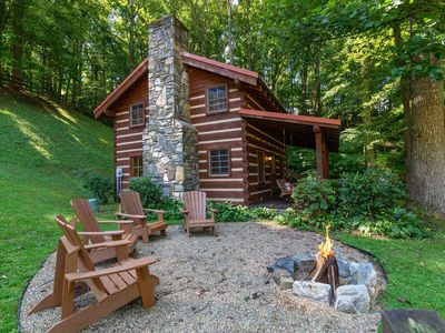 Photo for Rustic log home in private community - farm views & outdoor firepit!