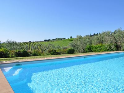 Photo for Lovely apartment with WIFI, pool, A/C, panoramic view and parking, close to Greve In Chianti