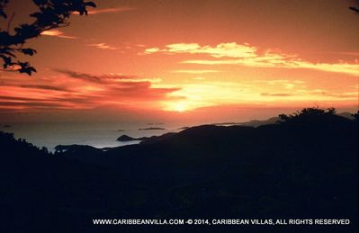 The view to the west includes sunsets, St. Thomas and the south coast of St John