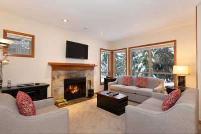Inviting living room with Presto log fireplace and forest views