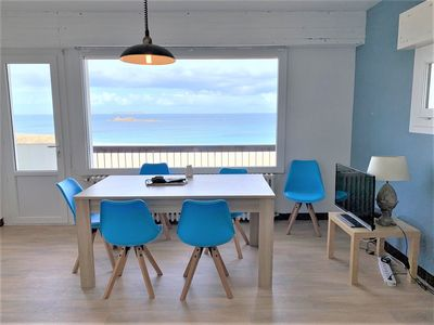 Photo for Apartment with beautiful sea view facing the beach in PERROS-GUIREC