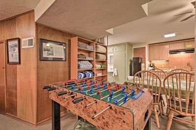 Start a friendly game of foosball with one of your travel companions.