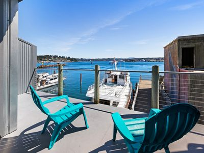 Photo for NEW LISTING! Bayfront lodge studio with a fireplace & balcony - near the beach!