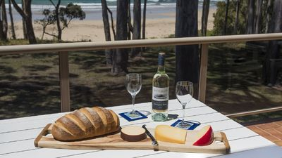 cheese and biscuits on the balcony