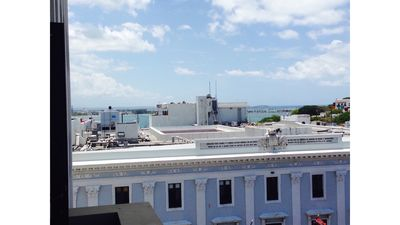 View from the balcony, San Juan Bay is on the left.