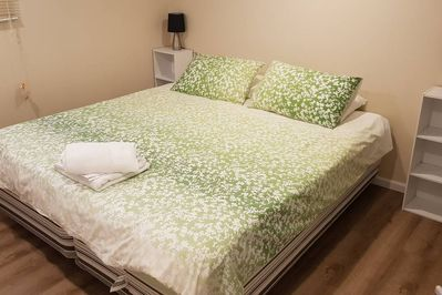 Bedroom 5 - King bed* or 2 king singles (Sleeps 2) - Downstairs *Request to join