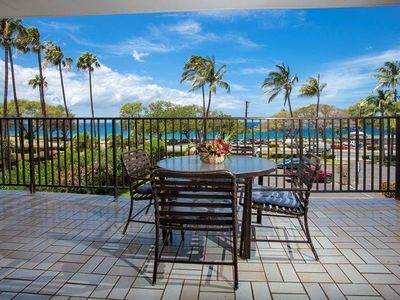 Photo for Take in the Ocean Views from the Large private lanai in this 2bd condo at Maui Parkshore #316