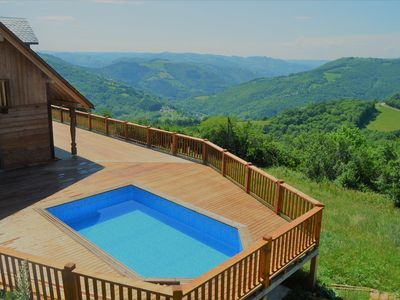Photo for Beautiful log house / Pool / Jacuzzi / Amazing view