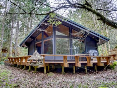 Photo for Unique and stylish home with deck, firepit & forest views!