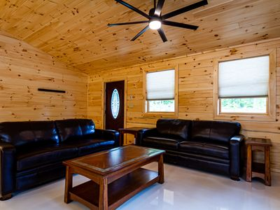 Photo for Cayuga Lake Cabins, Gorgeous Log Cabin home, Cabin C, fire pit, dog friendly