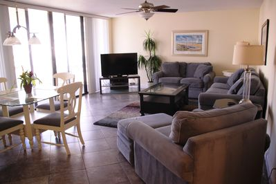 """Living Room is beautifully appointed and has a 50"""" Flat Screen & DVD"""