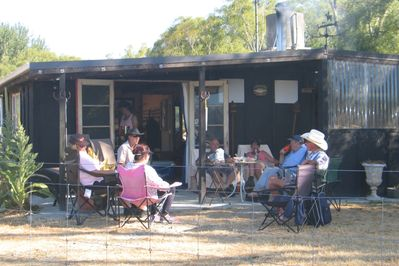 Guests relaxing after a hot day out on the river