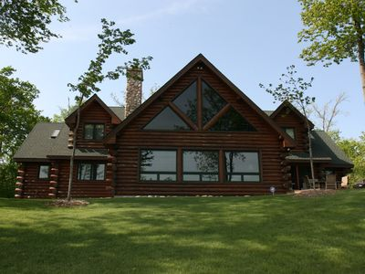 Photo for Gorgeous, Spacious Log Lake Home - Amazing View of 285 feet of Lake Shore!