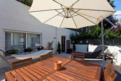 Prepare your breakfast in the kitchen and enjoy it on the sunny terrace
