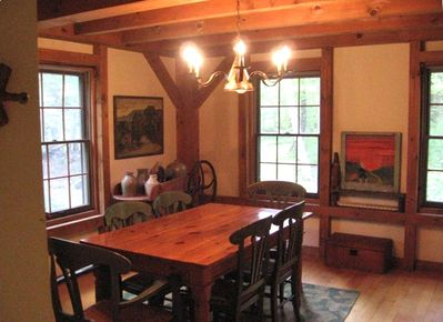 The dining room with views of the woods that surround the house.