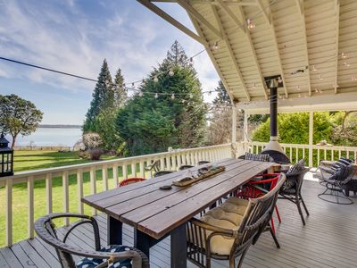 Photo for Dog-friendly, waterfront home with gorgeous views, deck, moments from beach!