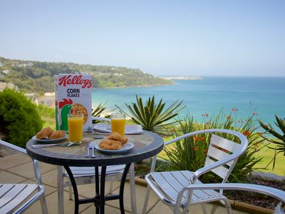 Photo for Prime seaside location, wonderful sea terrace and gardens, car parking, Wifi