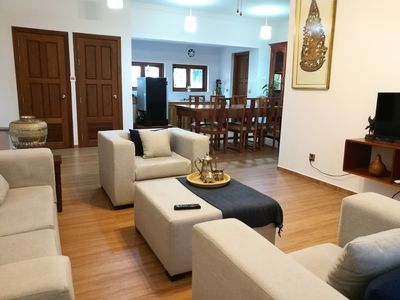 Private living, dinning table and kitchen
