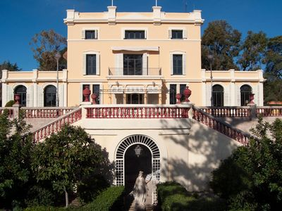 Photo for Stately Mansion, 12 rooms, huge gardens, pool, tennis, beach 5 minute walk