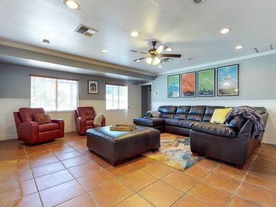 Photo for NEW LISTING! Ranch-style home w/private pool, tennis court, grill - dogs OK