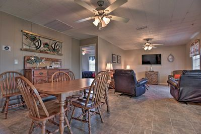 The interior is filled with fun rustic decor to match this Port O'Connor setting