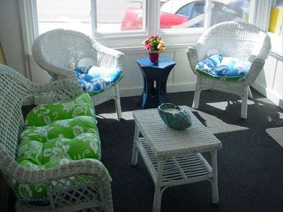 Front Sunporch with ample seating, freshly painted