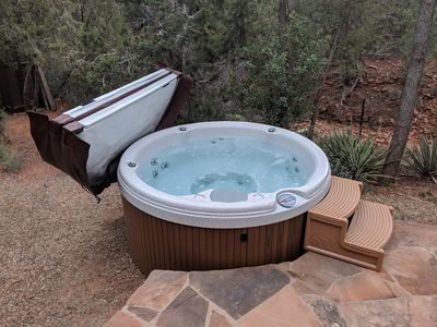 Hot tub with mountain views and excellent star gazing at night