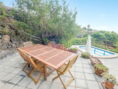 "Photo for Rural Holiday Home ""La Casita del Viejo"" with Mountain View, Sea View, Wi-Fi, Terrace, Garden & Pool; Parking Available, Pets Allowed Upon Request"