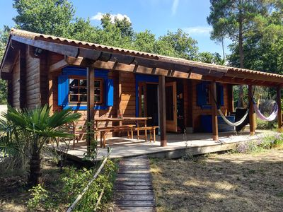 Photo for Wooden house with all comfort Mathes, near the beach, 2 terraces